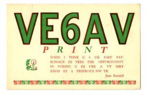 VE6AV - QSL Card, Bob Fields fonds, SPRA.