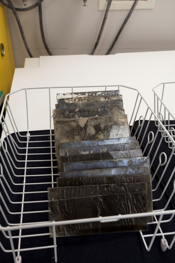 Glass plate negatives on a drying rack after multiple baths in a mixture of ethanol and water. Photo Credit: Amanda Oliver.